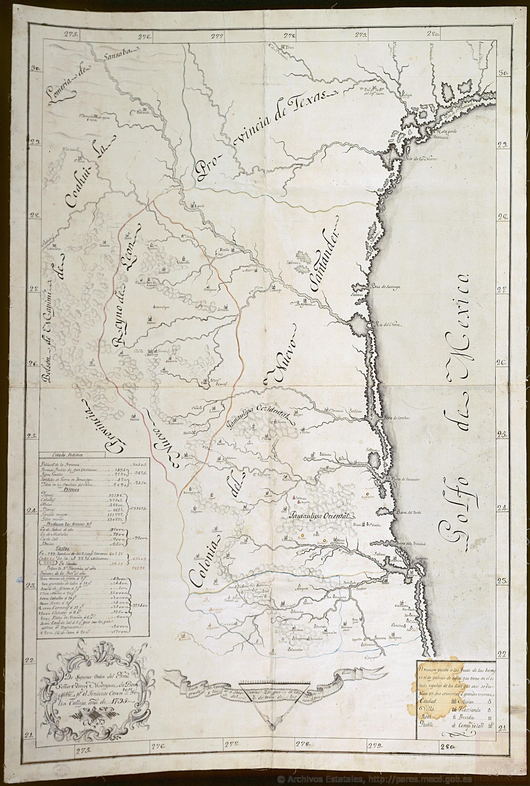 mapa Nuevon Leon, Nuevo Santander, y costa de seno